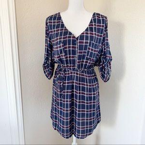 Mimi Chica Plaid Tie Waist Shirt Dress NWT